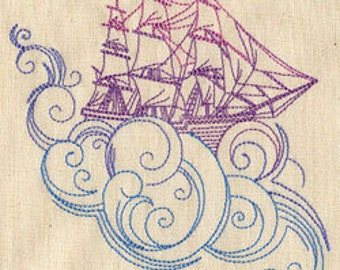 Dream Boat Ship Embroidered Flour Sack Hand/Dish Towel