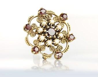 14K Gold Garnet Brooch Pendant, Starburst Solid gold Seed Pearl Vintage Antique Jewelry