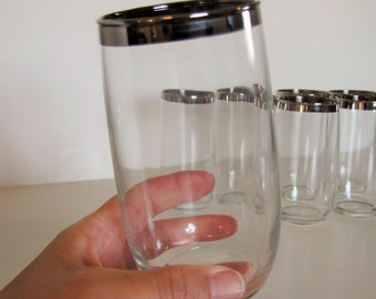 Vintage Set of 8 -  Mid Century Clear Glass Silver Rim Tall Tumblers / Glasses / Barware