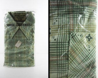 Vintage NOS Green Disco Shirt Geometric Plaid Deadstock Permanent Press 1970s - Large