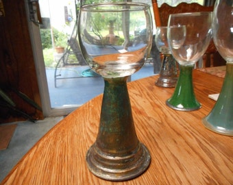 7 1/2 high RAKU Pottery Stemmed FORGIVENESS GLASS Goblet