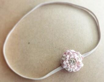 Blush Pink Flower Headband - Dusty Rose - Newborn Photo Prop - Petite Dainty Bloom - Infant - ALL SIZES - Woodland - Mauve - Skinny Elastic