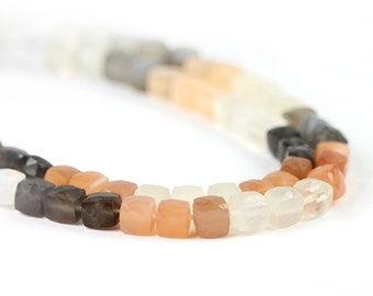 Moonstone Faceted Cube Beads 6 Grey Peach White Natural Semi Precious Gemstone winter color