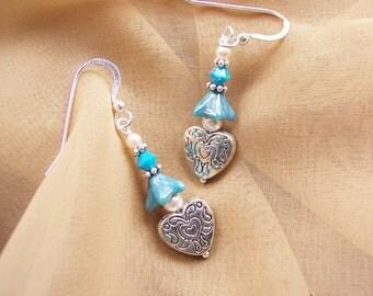 Maya Blue Heart Earrings