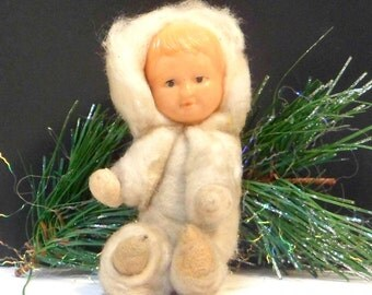 Christmas Ornament Pressed Cotton Baby Celluloid Face Vintage Japan 1930s