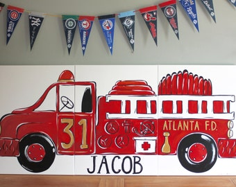 "triptych red vintage fire truck. 54""x24"" original painting. large triptych art. red fire truck decor. personalized name, city. made to order"