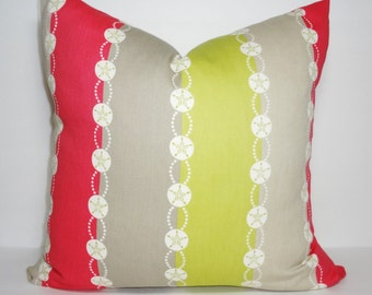 P. Kaufmann Belize Stripe Pink Sand Dollar Pillow Cover Nautical Pink Citrine Grey Pillow Covers Size 18x18