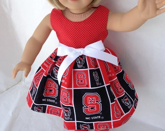 18 inch DollGame Day Dress of North Carolina State fabric,  made to fit 18 inch dolls such as American Girl and similar 18 inch dolls