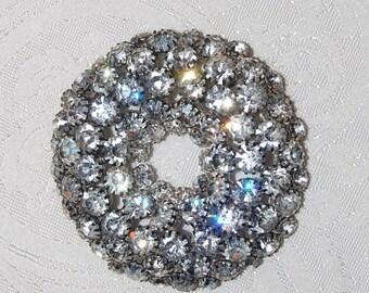 "Huge 3"" Rhinestone Circle Brooch Massive Statement Piece Unbelievable Mint Perfect Pin"