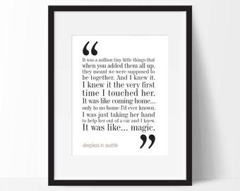Sleepless In Seattle Print. Movie Quote. Typography Print. 8x10 on A4 Archival Matte Paper