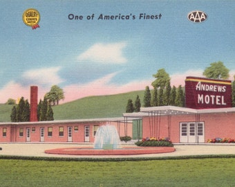 Cambridge, Ohio, Andrews Motel  - Linen Postcard - Unused (S)