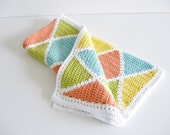 Harlequin Cotton blanket - bright citrus colors - orange lemon lime turquoise white - diamond pattern - eco friendly