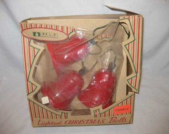 Neat Vintage ACLA American Christmas Lighting Lighted Christmas Bells In Box