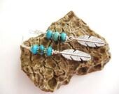 Turquoise Earrings. Southwestern Earrings. Beaded Turquoise Earrings.Turquoise Turquoise. FeatherEarrings. Turquoise