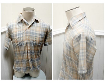 Vintage 1980s Orange & Blue Plaid Button Down Short Sleeved Career Club Shirt - 15/M