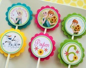 12 Frozen Fever Birthday Party Cupcake Toppers