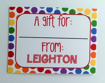 Personalized Rainbow Polka Dot Gift Wrapping Tags, Happy Birthday Tags, Kids Gift Tags, Gift Wrapping Labels, Custom Gift Tags, Set of 12