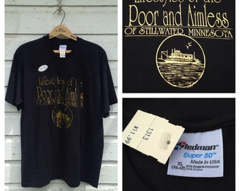 1980's Lifestyles Of The Poor & Aimless Of Stillwater Minnesota foil print t-shirt, fits like a large