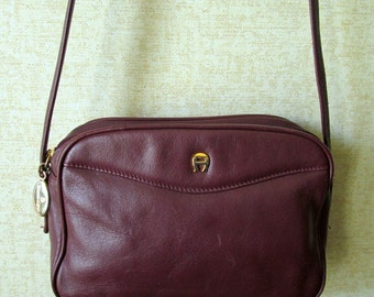 Etienne Aigner Mini Bag long strap shoulder bag hipster preppy handbag oxblood burgundy leather small purse vintage 80s