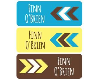 School Labels, School Name Labels, Waterproof School Labels, Personalized School Labels, Boy, Arrows, Chevron, Blue, Brown, Yellow