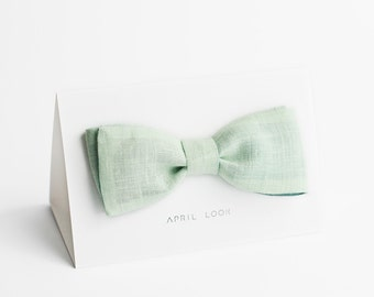 Mens self tie bow tie, light mint - double sided