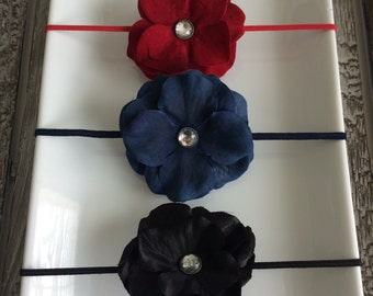 Fall/Winter Red, Navy and Black Petal Flower Elastic Baby/Toddler Girl Headband Set YOU CHOOSE SIZE (set of 3)
