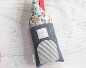 Tooth Fairy Pillow House Chambray and Liberty of London Girls Children Stuffed Toy Secret Door Keepsake