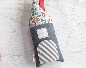Tooth Fairy Pillow House Chambray and Liberty of London Girls Children Stuffed Toy Secret Door Keepsake