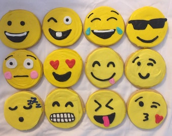 Emoji Cookies Large Party Favors 1 Dozen