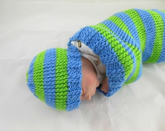 Knit Beanie Infant Size in Blue & Green Stripes