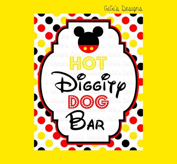 Playful image within hot diggity dog bar free printable