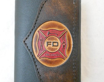 "Hand-Crafted ""Firefighter"" Leather Tri-fold Wallet"