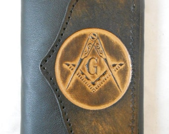 "Hand-Crafted ""Masonic"" Leather Tri-fold Wallet"