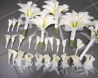 20 piece set Bride Bouquet White Calla Lily, 2 Bridesmaid, 1 Tossing,6 Corsage 10 Boutonniere. REAL TOUCH Lilies Destination Wedding Flowers