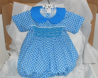 Size 12 Months, Smocked Turquoise Boy Bubble