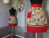 Vintage 1950's Yellow and Red Half Apron with Sailboats