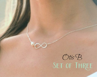 Bridal jewelry sets, silver infinity necklaces, SET OF THREE, Bridesmaid gifts, Bridesmaid jewelry gift sets, be my bridesmaid gift, otis b