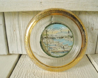 Vintage glass coaster ashtray souvenir San Francisco Fishermans Wharf 1930s- free shipping US