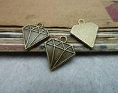 50pcs 18x16mm The Triangle Diamond Antique Bronze Retro Pendant Charm For Jewelry Bracelet Necklace Charms Pendants C8034