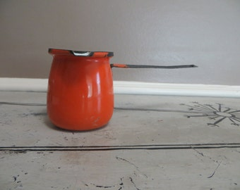 Orange Enamel Turkish Pot Butter Warmer Enamelware Turkish Coffee Saucepan Halloween Decor Orange