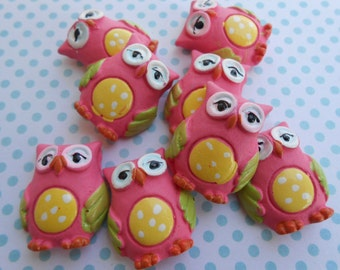 Owls Resin Fuchsia 8pcs