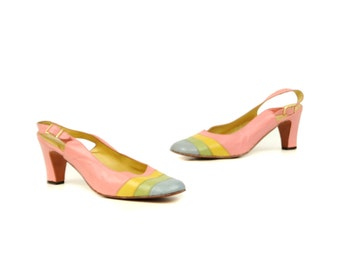 Vintage 1960's Cotton Candy Pastel Stripe Pink Spanish Leather Slingback Small Heel Shoes 8