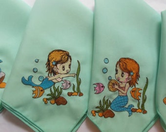 Baby Mermaid Embroidered Party Napkins