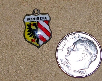 Vintage Signed 800 Silver On Enamel Travel Shield Nurnberg Charm Or Pendant 1960's Jewelry H59