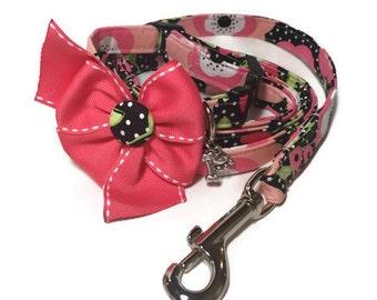 Black N' Salmon Floral Dog Leash Set