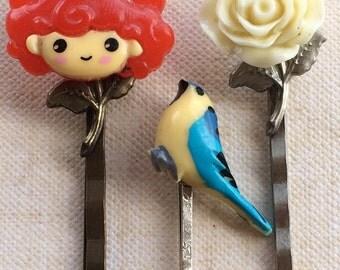 Bobby Pins, Hair Pins, Hair Clips, Hair Barrettes, Flower Hair Clips, Bird Bobby Pins