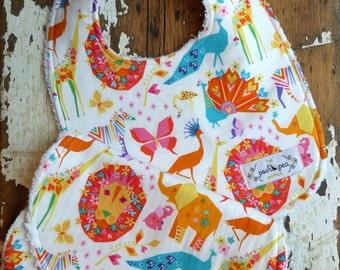 SALE Bib & Burp Cloth Set - Origami Pride Candy - Animals Elephants, Giraffes, Lions - Baby Boy or Girl - Gender Neutral - Baby Gift Set