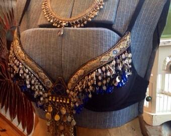 Handmade Ethnic Lapis Bellydance Bra and Matching Necklace/Headpiece