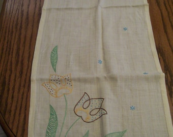 Vintage Embroidered Runner Handstitched Yellow Tulips