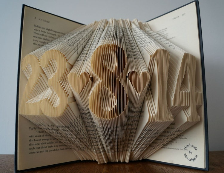 Book Art Wedding Gift : Folded book art-Paper anniversary gift-wedding date by Meiorigami